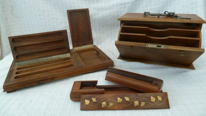 Wooden cabinet for letters bureau set and pencil case catawiki