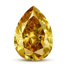 Trés beau Diamant de 0,54 ct, Taille Pear Naturel Fancy Deep  Brownish Yellow SI2