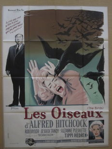 The Birds - Original French poster - 1963 - Alfred Hitchcock -  designed by Boris Grinsson