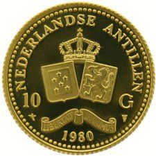 Netherlands Antilles – 10 guilders 1980 Juliana, gold