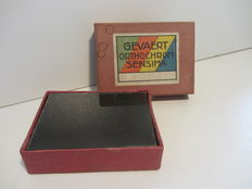 Box containing 17 glass plate negatives