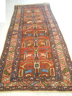 Very old Persian carpet, 222 x 108 cm, middle of the 20th century.