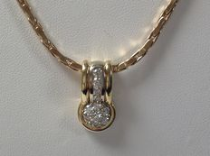 Gold 14 kt necklace with pendant set with brilliant cut diamond of 0.60 ct