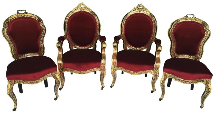 Pair of armchairs (part and counter part) and pair of chairs in Boulle marquetry and gilded bronze - Napoleon III - France -circa 1880