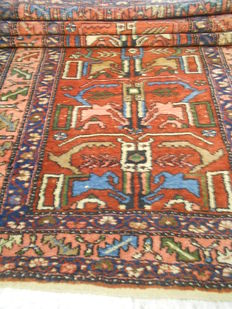 Very old Persian carpet, 222 x 108cm, middle of the 20th century.