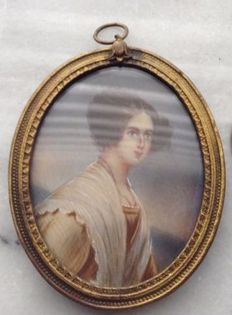 French School-woman with white shawl and salmon-colored dress-portrait miniature painted on ivory-first half of 19th century
