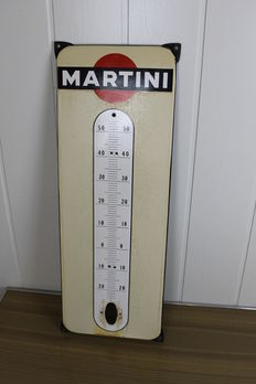 Belgium - Martini - enamel advertising sign with thermometer -1966.