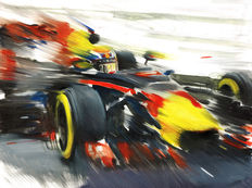 Max Verstappen Red Bull RB12 Tag Heuer Formula 1 Car F1 Art Print Poster - Hand signed by Artist Andrea Del Pesco + COA.