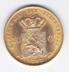 The Netherlands – 10 guilders 1887 Willem III – Gold