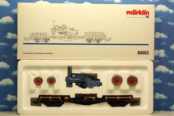 Märklin H0 - 84663 - Stake carriage with locomobile