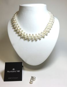 Set of Hunters' Hill freshwater pearl necklace and ear-studs
