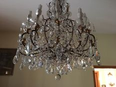 12-light Bohemian crystal glass chandelier - 20th century