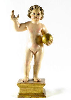 Polychrome wood sculpture - Jesus Child with Ball - Spain - 18th/19th century