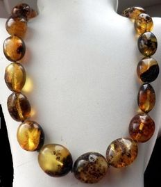 100% Genuine, natural, antique, Baltic, green, amber necklace.