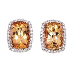 Imperial topaz, 18 kt rose gold earrings, 4.46g and 0.36 ct diamonds