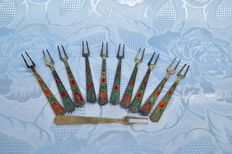 12 gilded and enamelled fruit forks , russia, 1950S
