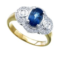 18kt ring blue Ceylon sapphire, size 54, .30ct diamonds