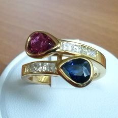 Gold ring with ruby, blue shappire and diamonds