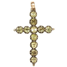 Antique gold-backed silver cross pendant with imitation diamonds from the 18th century