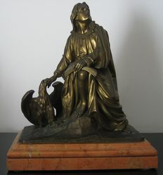 Jean-François-Théodore Gechter (1795-1844) -bronze sculpture of Saint John with Eagle -France - 19th century