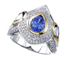 Tanzanite 18 kt white gold ring, size: 54, 8.3 g and 0.45 ct diamonds