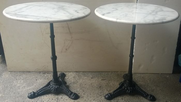 Pair Of Round Bistro Tables   Cast Iron And White Marble   Italy   1950s