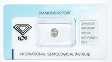 0.61 ct pear geslepen diamant, Natural Fancy Brownish Yellow, VS1