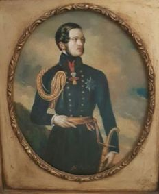 Unknown artist (signed by Cavallotti, 19th - 20th century) - Portrait of the Albert prince of Saxony.