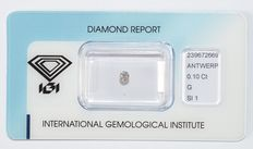 0.10 ct brilliant cut diamond, G, SI1