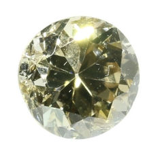 Certified old European brilliant cut diamond 0.57 ct, natural fancy light yellowish brown - SI2 - polished circa 1920!
