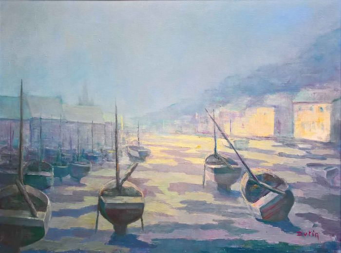 Dutin (20th c.) - Port in the mist at low tide