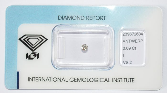 0.09 ct briljant geslepen diamant, I, VS2