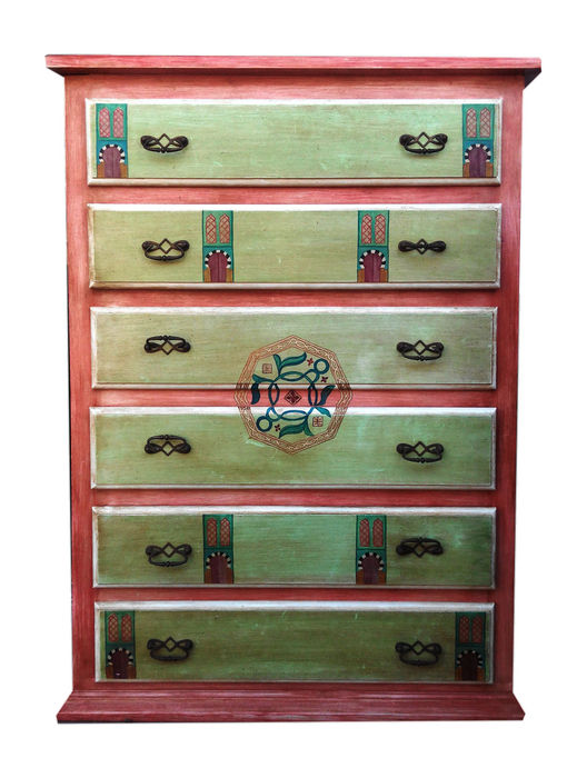 Wood chiffonier or chest of drawers hand-painted with eastern motifs, signed, 1980s.