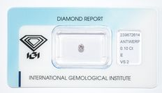 0.10 ct briljant geslepen diamant, E, VS2