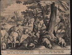 Jan Collaert II (1561 - 1620) after Stradanus  (1523-1605) - Deer hunt with dogs tracking - Venationes Ferarum, Avium, Piscium - 1578