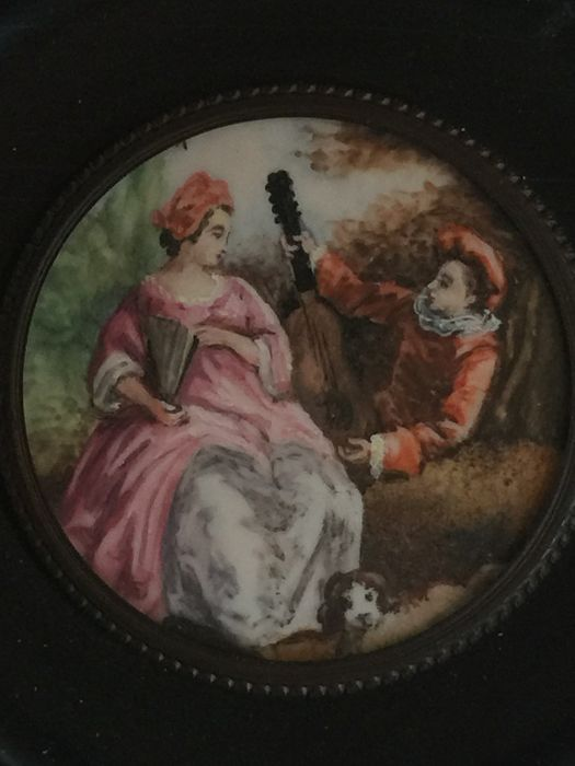 Miniature portrait on bone - The Serenade, France, circa 1900