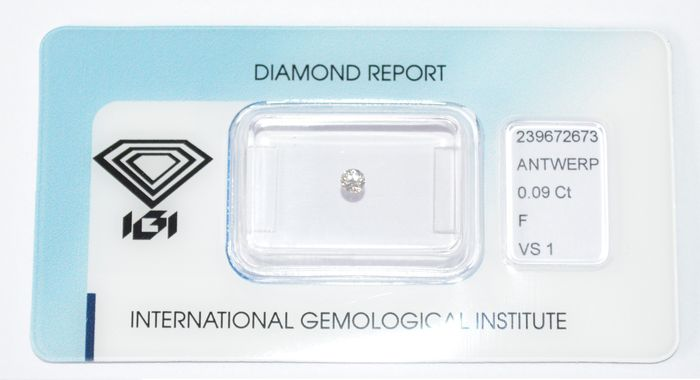 Diamante a taglio brillante da 0,09 ct, F-VS1