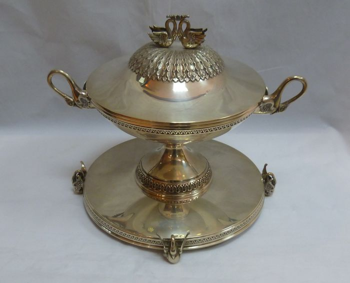 Silver tureen, Empire style, Spain, 20th century