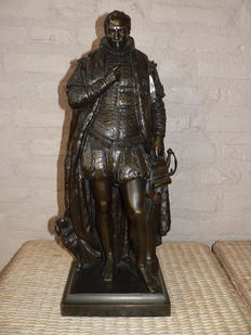 "Louis Royer (1793 - 1868) - bronze statue of William of Orange - bronze foundry ""Lurasco Brothers"" - approx 1850"