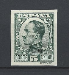 Spain 1930/1931 - Alfonso XIII Váquer. Colour error, imperforate Graus certificate - Edifil 491 scc, uncatalogued