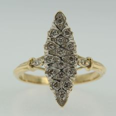 18 kt yellow gold marquise ring with diamond set in white gold