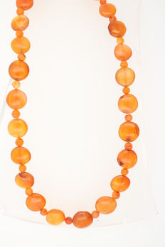 Amber necklace, butterscotch olives, untreated amber