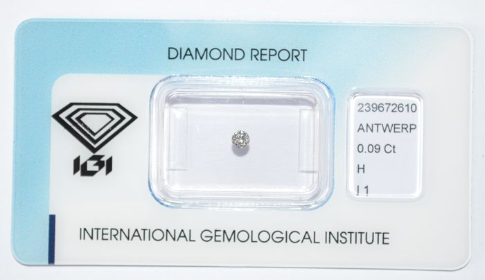 0.09 ct brilliant-cut diamond, H, I1