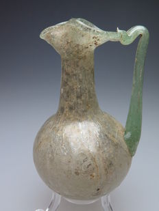 Roman glass pour bottle with handle - 95 mm