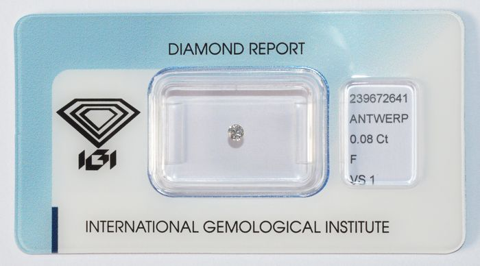 Diamante a taglio brillante da 0,08 ct, F-VS1
