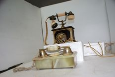 Lot of 2 phones, one in wood and one in stone with secret compartment for small items, working