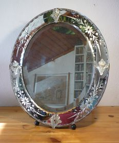 Murano Engraved Crystal Table Mirror, Oval, Italy, from the First Half of the 20th Century