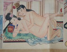 Oriental erotica; paper scroll with 8 Japanese erotic scenes-late 20th century