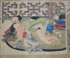 Oriental erotica; paper scroll with 8 Chinese erotic scenes – late 20th century