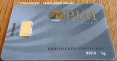 1 piece Gold bar 1 gram Nadir PIM fine gold - fineness 999.9/1000 - 24 carat, 1 g gold blistered in credit card format, LBMA certificate